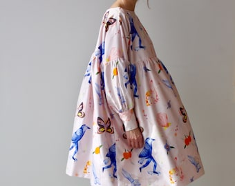 PRE ORDER Printed Dress Eco Friendly Sustainable Art Illustration Unique Plus Size Clothing Bridesmaid Dress Smock Dress Dress Long Sleeve