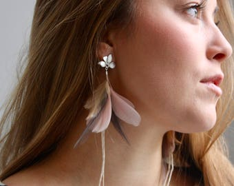 Lavender Grey Feather Earrings. Silver Orchid Flower Stud Blush Pink and Beige Natural Feather Earrings. Long Dangle Feather Earrings 023