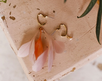 Mismatched Pink Earrings Asymmetrical Flamingo Earrings Statement Feather Earrings Gold Heart Earrings Valentine Gift Women Coral Pink