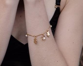 Dainty Swarovski Sand Charm Bracelet 14k Goldfilled Charm Bracelet Everyday Bracelet Chain Gold Bracelet Minimal Jewelry Bracelet