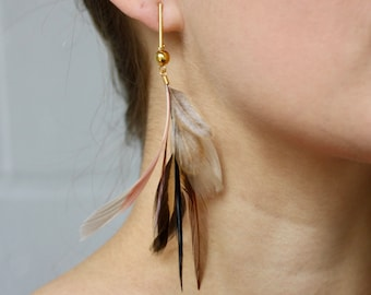 Feather Earrings. Gold Bar Stud Blush Pink and Cream Natural Feather Earrings. Long Dangle Feather Earrings. Spring Fashion