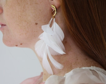 Mismatched Earrings Asymmetrical Statement Earrings White and Gold Feather Earrings Gold Bar Earrings Extra Long Statement Dangle Earrings