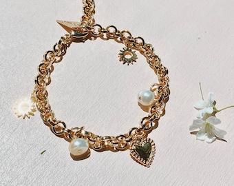 Gold Charm Bracelet 14k Goldfilled Clasp Pearl Charm Bracelet Heart Gold Bracelet Chain Gold Bracelet Stement Jewelry Bracelet