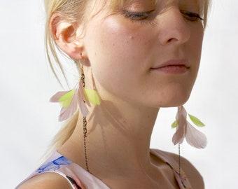 Linear asymmetrical earrings best selling jewelry long chain earrings gold and black feather earrings chartreuse green dangle brass jewelry
