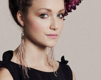 Dusty Pink Feather Earrings - Holiday Fashion - Silver Earrings - Long Fringe Statement Earrings