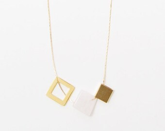 Gold Plated Minimalist Necklace. Stone Jewelry. Delicate Necklace. Geometric Gold Necklace. Bar Necklace. Spheres and Cubes — 004