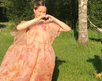 Floral Dress Sheer Summer Dress Wedding Pink Blush Wedding Dress edgy dress romantic dress Tulip Dress