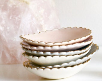 Scalloped Ring Dish Porcelain Pastel Ring Dish White, Rose, Grey Green and Mauve Engagement, Bridesmaid, Hostess Gift. Gift For Her
