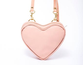 Pink Heart Leather Bag. Valentine's Gift. Nude and Gold. Spring Fashion Fanny Pack SS17