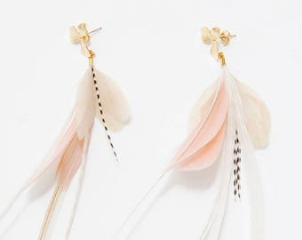 Best selling items Feather Earrings Gold Flower Stud Blush Pink and White Natural Feather Earrings. Long White Stripe Dangle Earrings