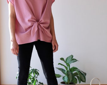 Pink Top Loose Fit Women Shirt Drapy Oversized Shirt Cap Sleeve Self Waist Knot