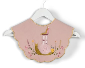Blush Pink Detachable Collar Statement Collar Oversized Peter Pan Removable Collar Embroidered Collar Scalloped Super-Sized Collar Art