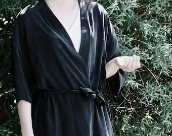 Silk Dress Kimono Japanese Inspirer Women's Kimono Cocktail Bridesmaid Robe Black Kimono Summer Fashion