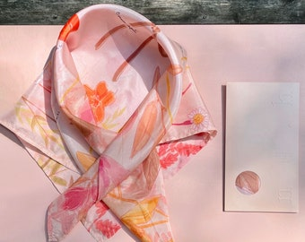 Unique Gift Silk Scarf Spring Fashion Accessory Hand Painted Fashion Square Scarf Printed Art Illustration Hand Dyed Illustration