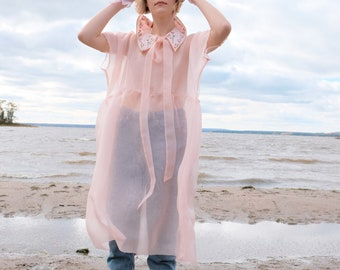Sheer Dress Pink Wedding Dress edgy Dress Romantic Dress Tulip Dress