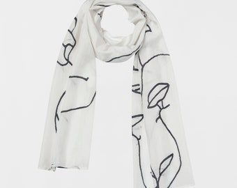 Hand Painted Scarf Printed Silk Scarf Black and White Scarf Art Accessory Art Illustration Co-designed Printed Scarf Printed Art