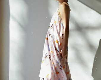 Printed Art Dress Loose Hi-Low Hem Maxi Dress Asymmetrical Dress Summer Day Dress Loose Fit Emma Dress