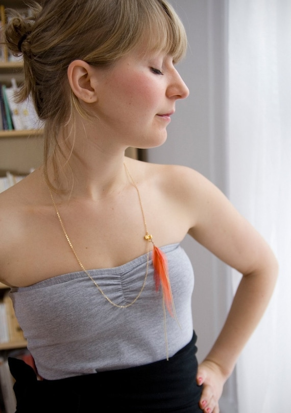 Delicate Summer Breeze. Feather Necklace. Gold Necklace. Bow Delicate Necklace. Neon Feather Necklace