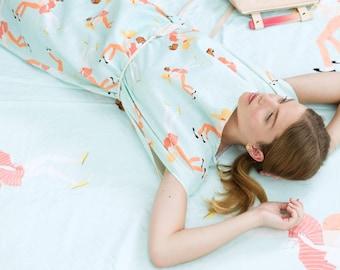 Sale Illustration Linen Print Dress. Summer Shift Dress. Art Illustration Print Tunic. Linen Bridesmaid Dress. Catherine Dress SS16