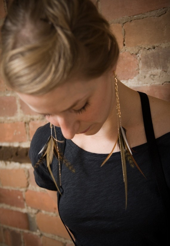 Gold Feather Earrings. Long Gold Feather Earrings. Neutral Feathers. Heart of Gold