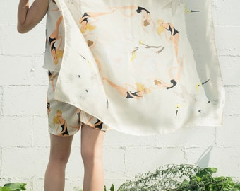 Printed Silk Scarf. Little Swimmers Illustration. Spring Accessory. Art Illustration. Co-designed Printed Scarf. Printed Art