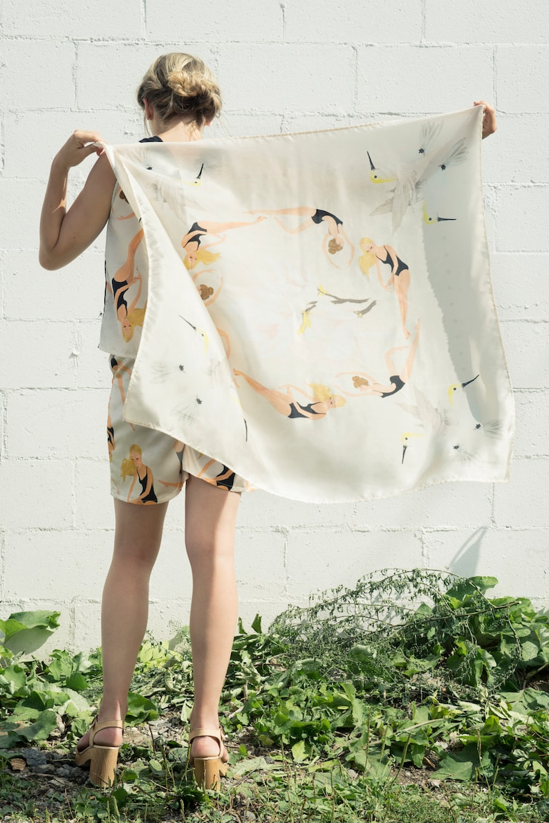 Printed Silk Scarf. Little Swimmers Illustration. Spring image 0