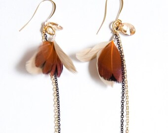 Mom Earrings. Gold Shadow Swarovski Crystal. Gold-Plated and Feather. Matte Black and Gold Earrings
