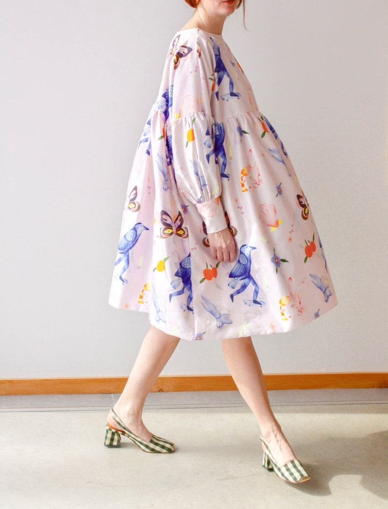 Printed Dress Eco Friendly Sustainable Art Illustration Unique Plus Size  Clothing Bridesmaid Dress Smock Dress Dress Long Sleeve