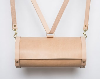 SALE LAST ONE . Vegetable  Leather and Maple Wood Backpack