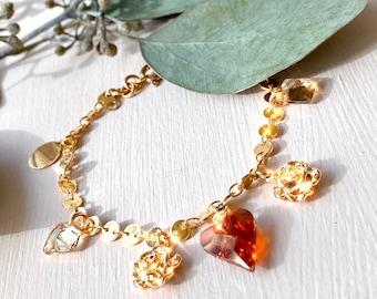 Gold Charm Bracelet. Red and Gold Chunky Chain Bracelet. Cute Charm Bracelet. Stack Bracelets. Gold Disc Bracelet. Dainty Swarovski Bracelet