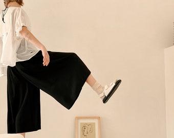 Wide-leg Silk Culottes. Black Culottes. Elastic High Waist Culottes. Voluminous Wide Leg Pants. Black Silk Culottes. High-end Palazzo