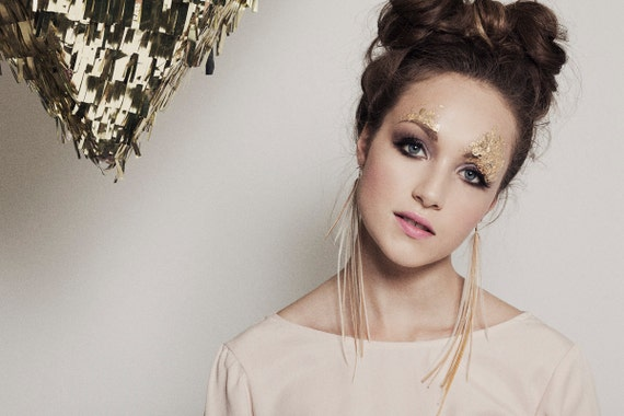Neutral Feather Earrings. Rose Gold Cream Feather Earrings. Extra Long Dangle Earrings. Holiday Fashion AW14