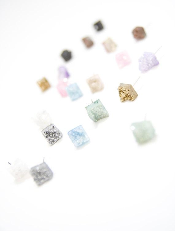 Raw Earrings. Gemstone Studs. Celestial Stone. Druzy Crystal Quartz Chunk Earrings. Geo Earrings. Raw Plated Crystal Quartz Chunk Earrings