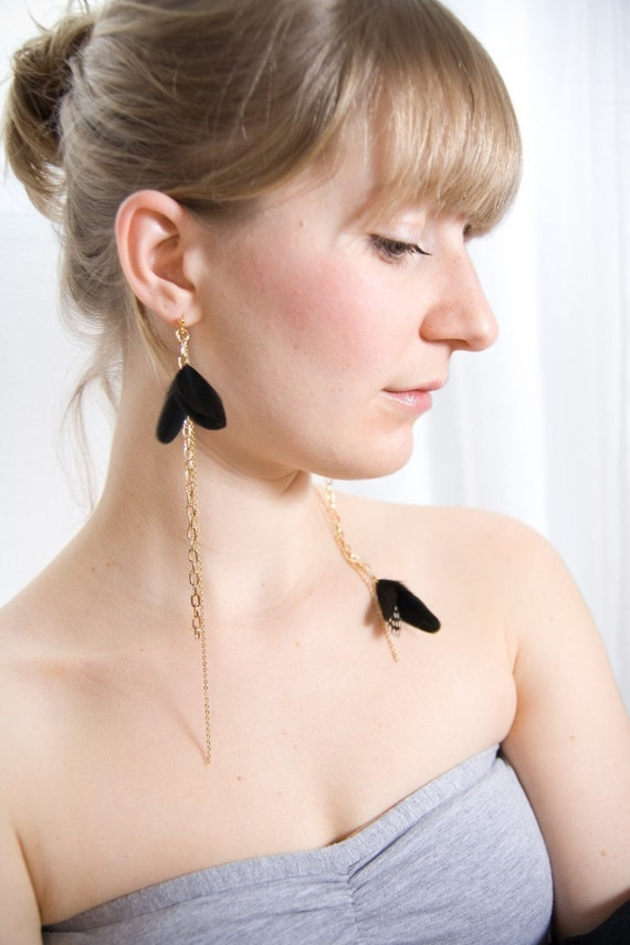 Dangle Feather Earrings. Polka Dots Black and White Feather Earrings. Statement Asymmetrical Earrings. Night Butterfly