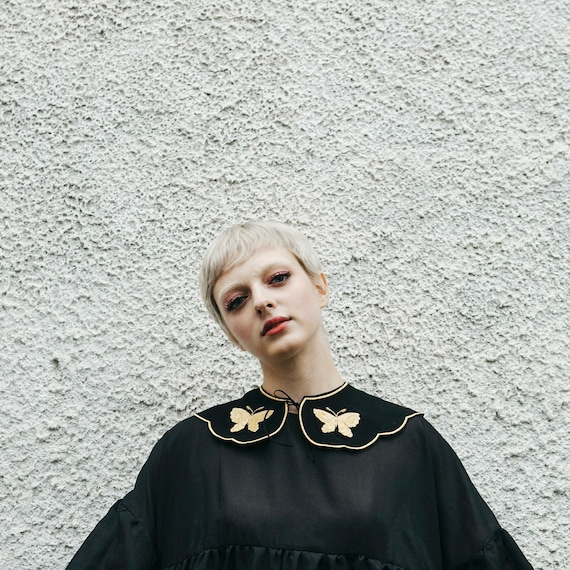 Black Lolita accessories Dark mori girl Detachable gothic collar Removable Peter Pan collar