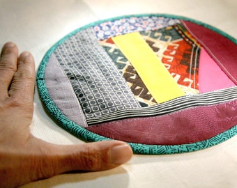 Textile creation Trivet Pot pad recycled materials patchwork number 088