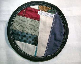 Textile creation Trivet Pot pad recycled materials patchwork
