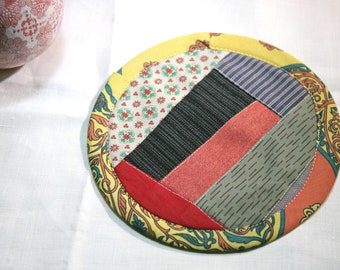 Textile creation Trivet Pot pad recycled materials patchwork number 100