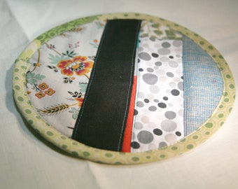 Textile creation Trivet Pot pad recycled materials patchwork number 096