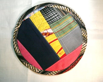 Textile creation Trivet Pot pad recycled materials patchwork number 114