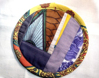 Textile creation Trivet Pot pad recycled materials patchwork number 077