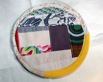Textile creation Trivet Pot pad recycled materials patchwork number 104