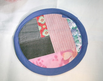 Textile creation Trivet Pot pad recycled materials patchwork number 112