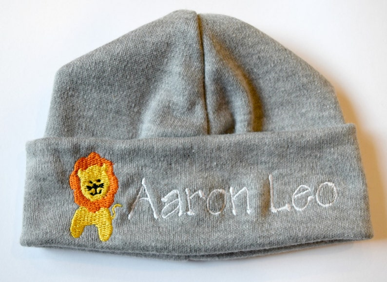 61ab0c0a278c3 Personalized Embroidered Monogrammed Baby Hat Beanie with Lion