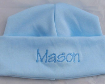 Baby Blue Personalized Embroidered Monogrammed Baby Hat