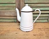 Vintage White Enamel coffee Pot pitcher white black shabby cottage vase Tea Pot xpk090518lgs