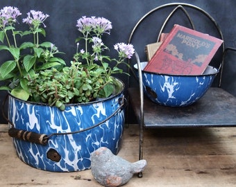 Choice Antique Graniteware Speckled Drip  Blue Enamel  Bowl or Pot one with Handle Planter As-Is  21Y06O08C