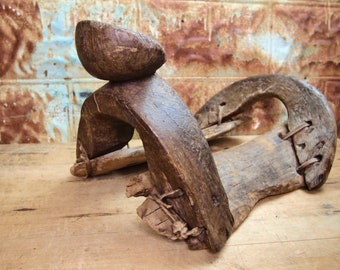 Antique Saddle Frame Tree  Wooden Handmade  Hand Carved Western Western Southwest Vintage Primitive rough Antique   21L15G08S