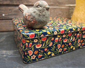 Floral Tin Canister box container floral Fabulous Mid Century  Candy cookie tin  19L025G01S
