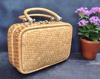 "Vintage Lesco Lona Hong Kong  Woven Handbag  Wicker With Leather Trim straw   8.5x6.5x3""   AJS"